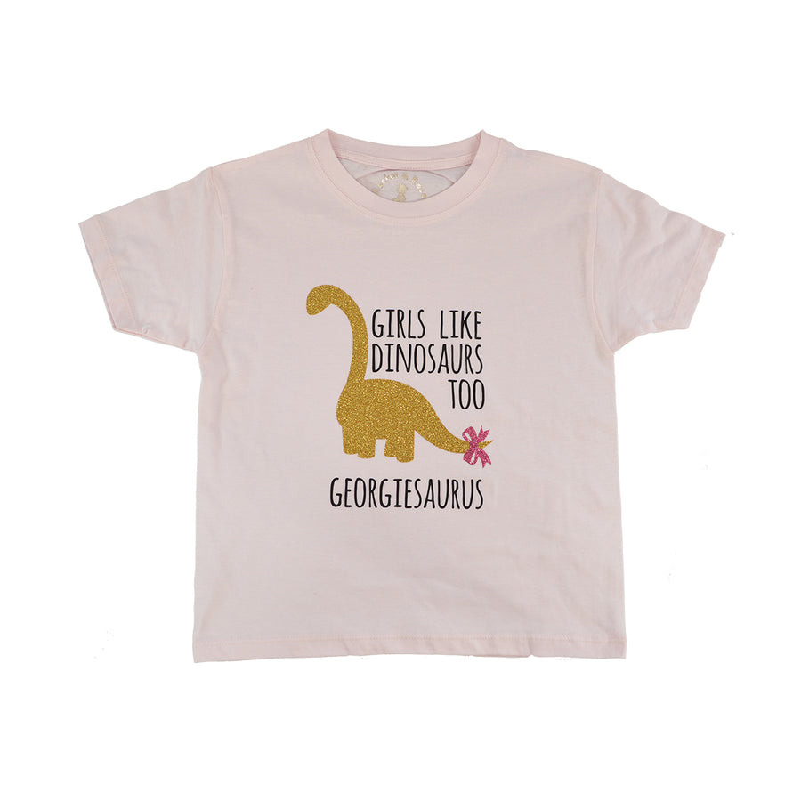 'Girls Like Dinosaurs Too' Cute Kids Slogan T-Shirt