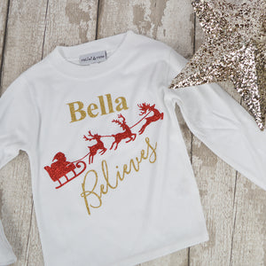 Personalised 'Believes' Cute Christmas Kids Glitter Print T-Shirt