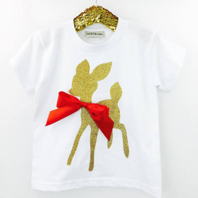 'Bow Deer' Cute Kids Slogan T-Shirt
