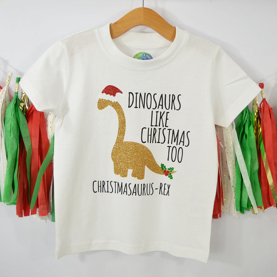 'Dinosaurs Like Christmas Too' Personalised Christmas Kids T-Shirt