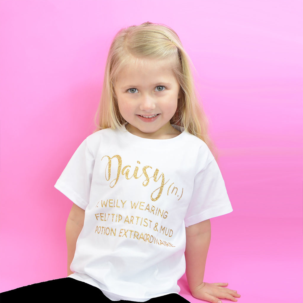 personalised 'girl definition' cute kids slogan t-shirt – rocket & rose