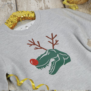 'Dino-Deer' Funny Christmas Kids Sweatshirt