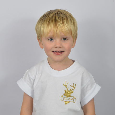 #FiverFriday Personalised Stag Scroll T-Shirt (Kids)