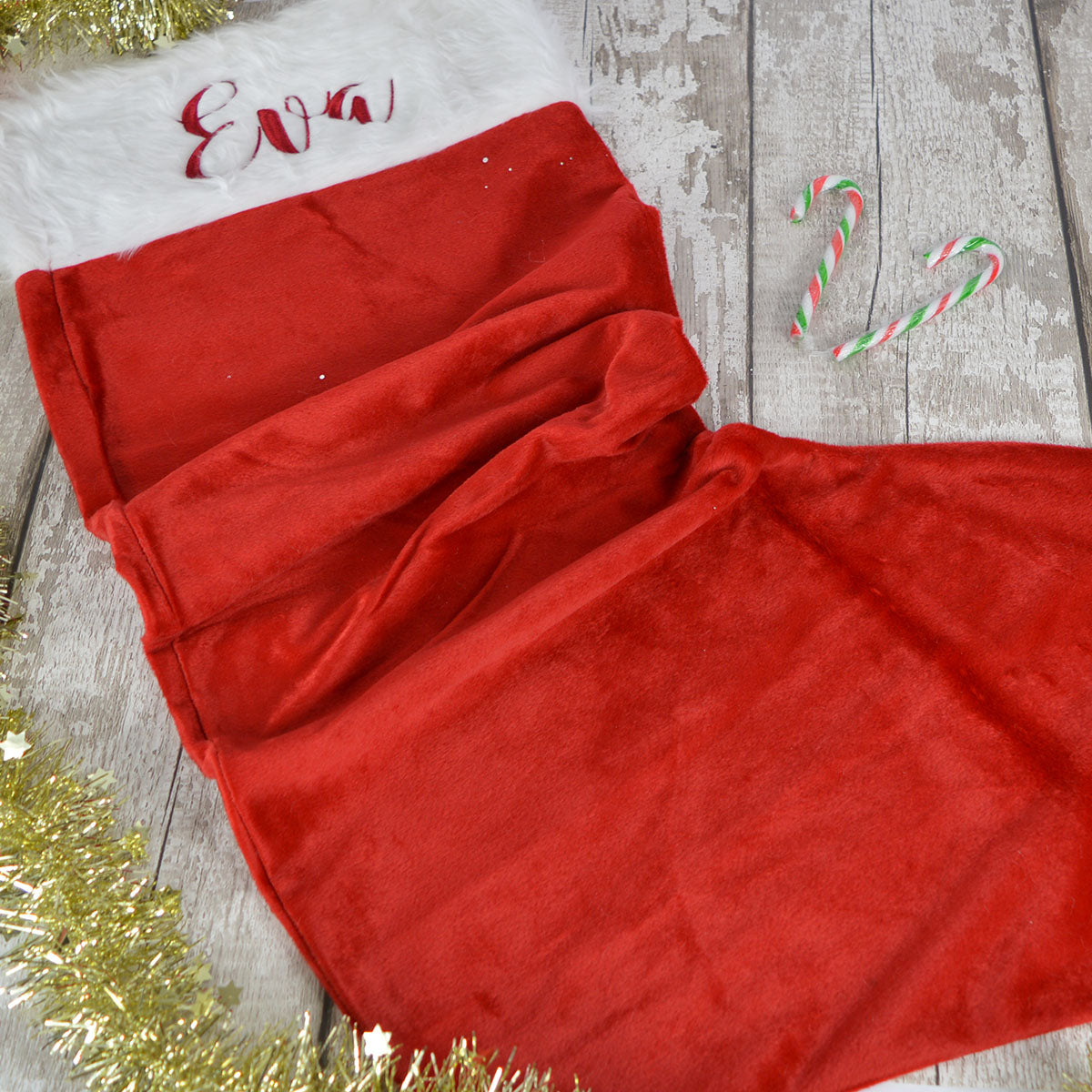 Embroidered Christmas Stockings.Personalised Giant Plush Embroidered Christmas Stocking