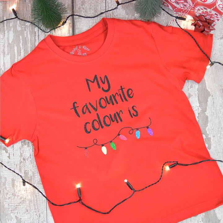 'My Favourite Colour is Christmas Lights' Kids T-Shirt