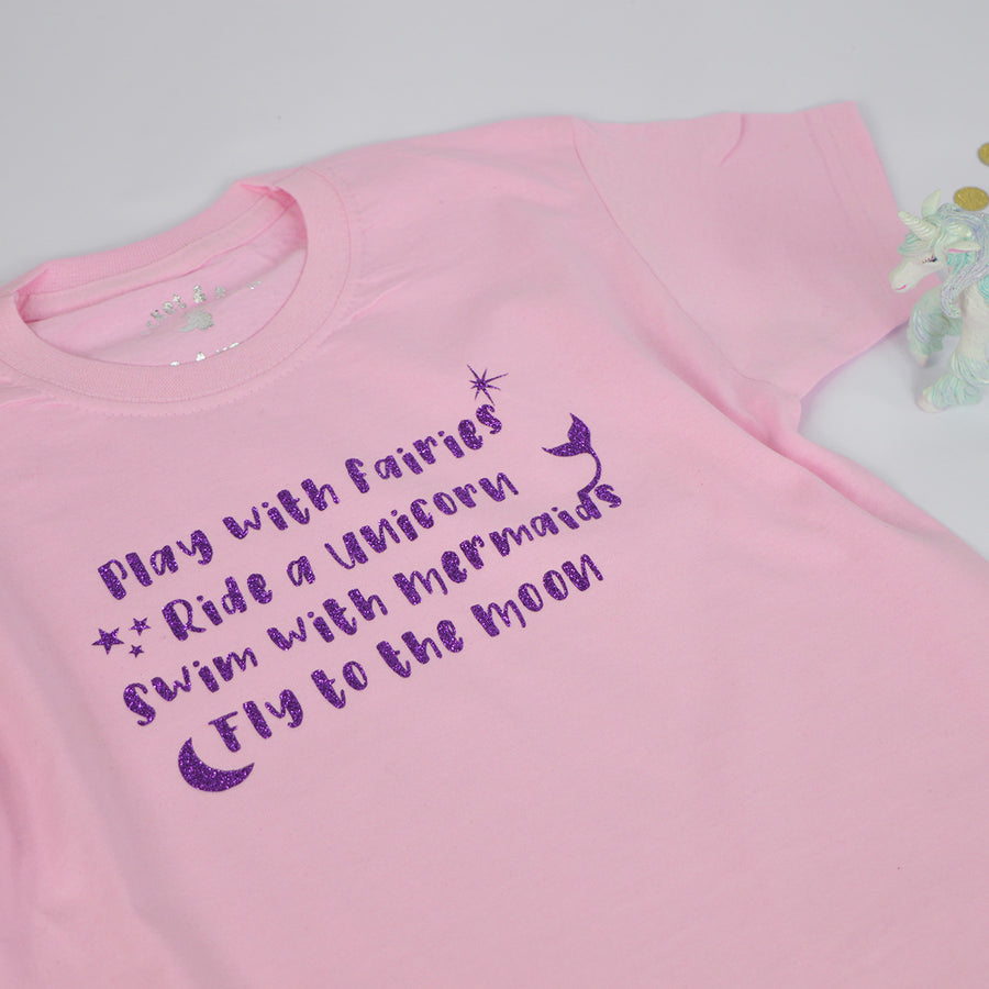 'Play With Fairies' Cute Kids Slogan T-Shirt