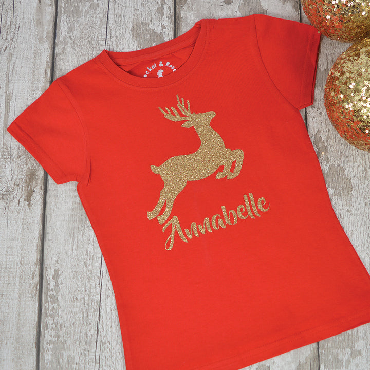 Personalised 'Dancing Deer' Christmas Kids T-Shirt