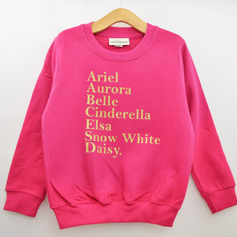 'Princess Names' Cute Kids Slogan Sweatshirt