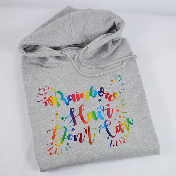 'Rainbow Hair Don't Care' Ladies Hoodie