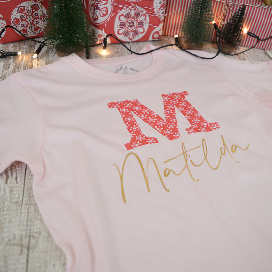 'Red Snowflake' Kids Personalised T-Shirt