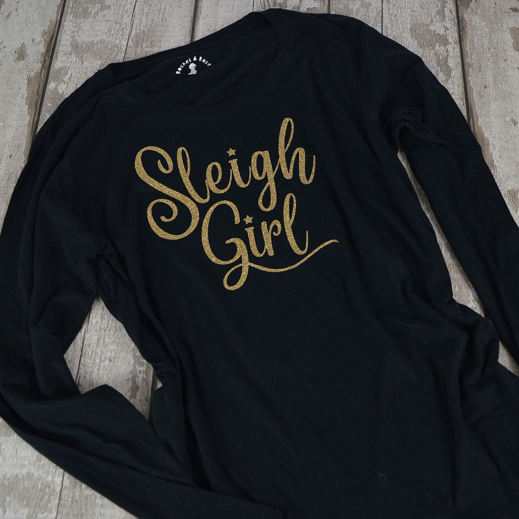 'Sleigh Girl' Fun Grown Up Christmas T-Shirt