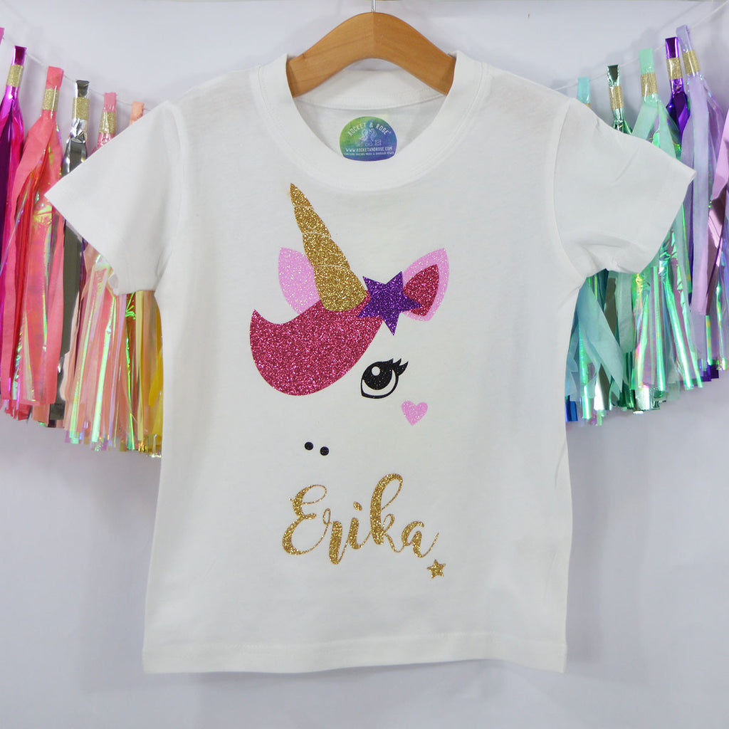 'Star Unicorn' Magical Sparkle Kids Slogan T-Shirt