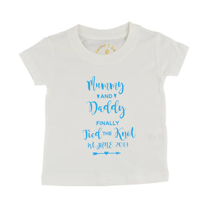 'Mummy & Daddy Finally Tied the Knot' Cute Kids Slogan T-Shirt