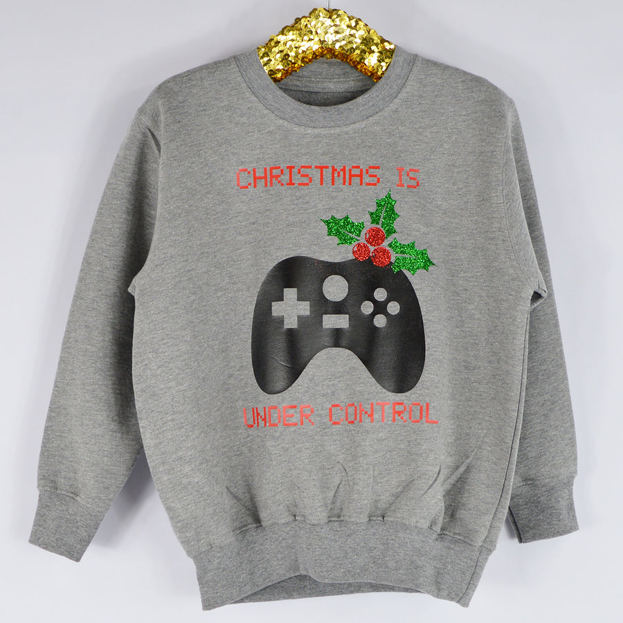 'Christmas is Under Control' Gamer Christmas Kids Sweatshirt