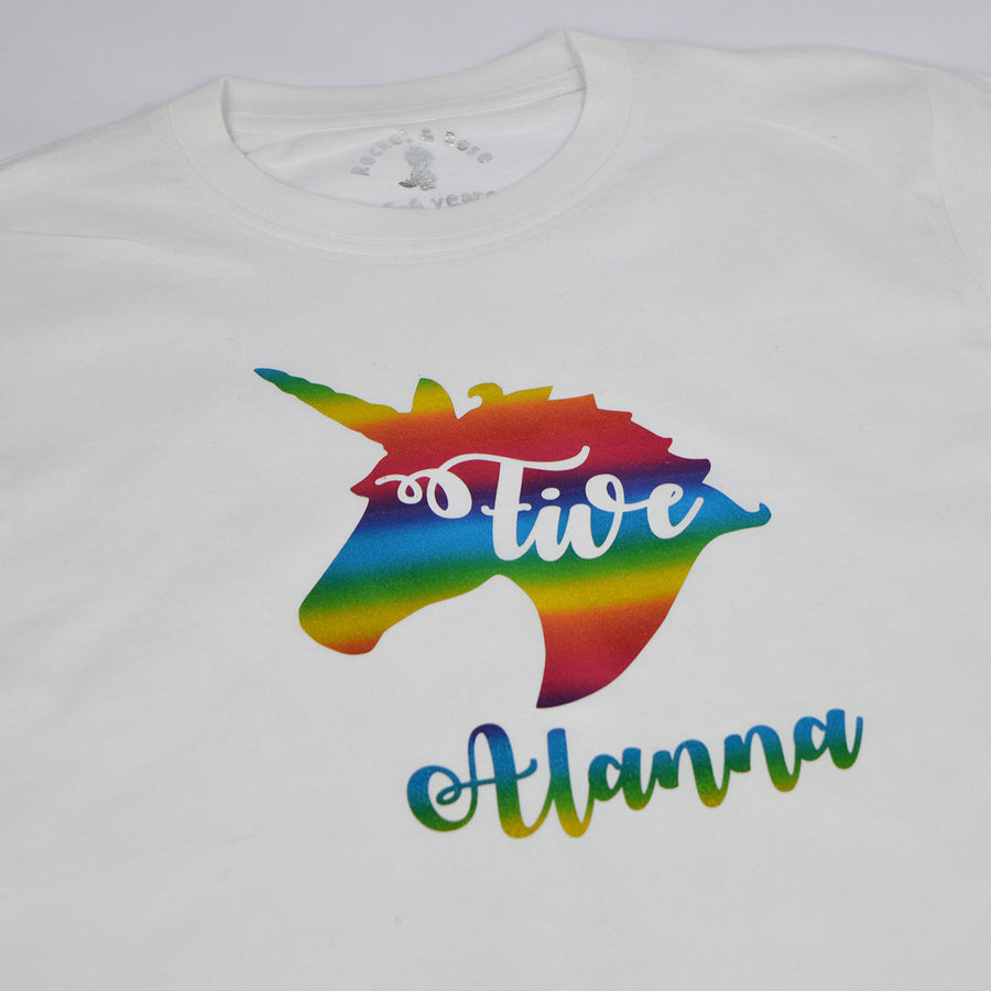 'Unicorn Name & Age' ANY AGE Birthday T-Shirt