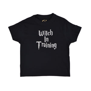 'Witch in Training' Cute Personalised Kids Slogan T-Shirt