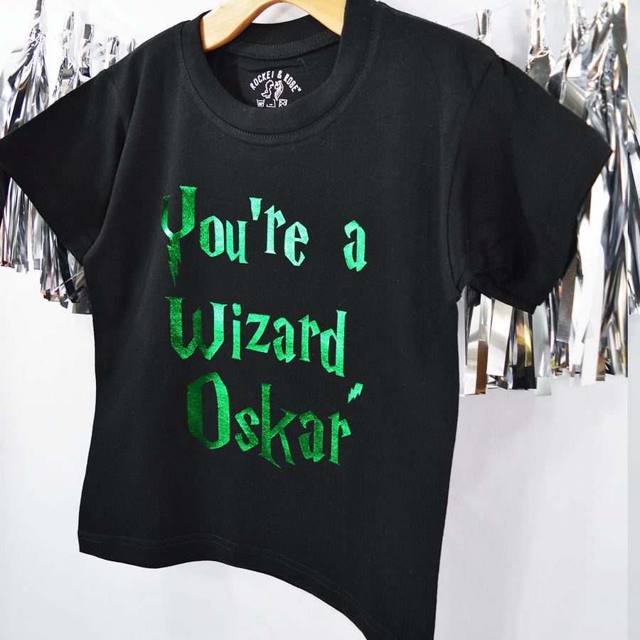 'You're a Wizard' Cute Halloween Kids Personalised Slogan T-Shirt