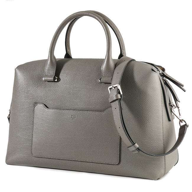 Product Shot Of Grey Leather Handbag