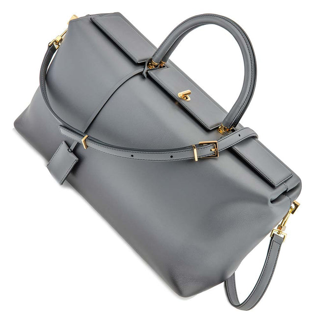 Product Photography Of Grey Leather Handbag