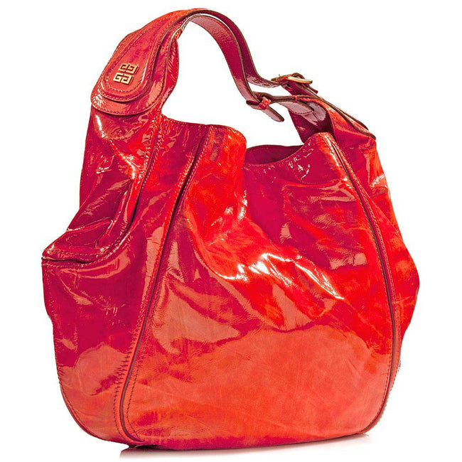 Product Photo Of Red Patten Leather Handbag