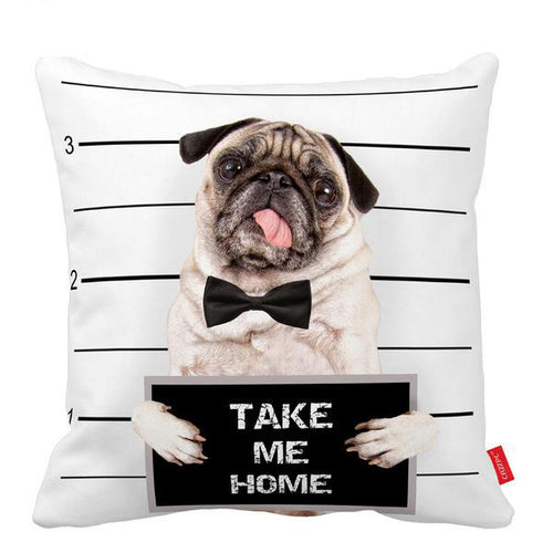 Naughty Pug Pillow Case