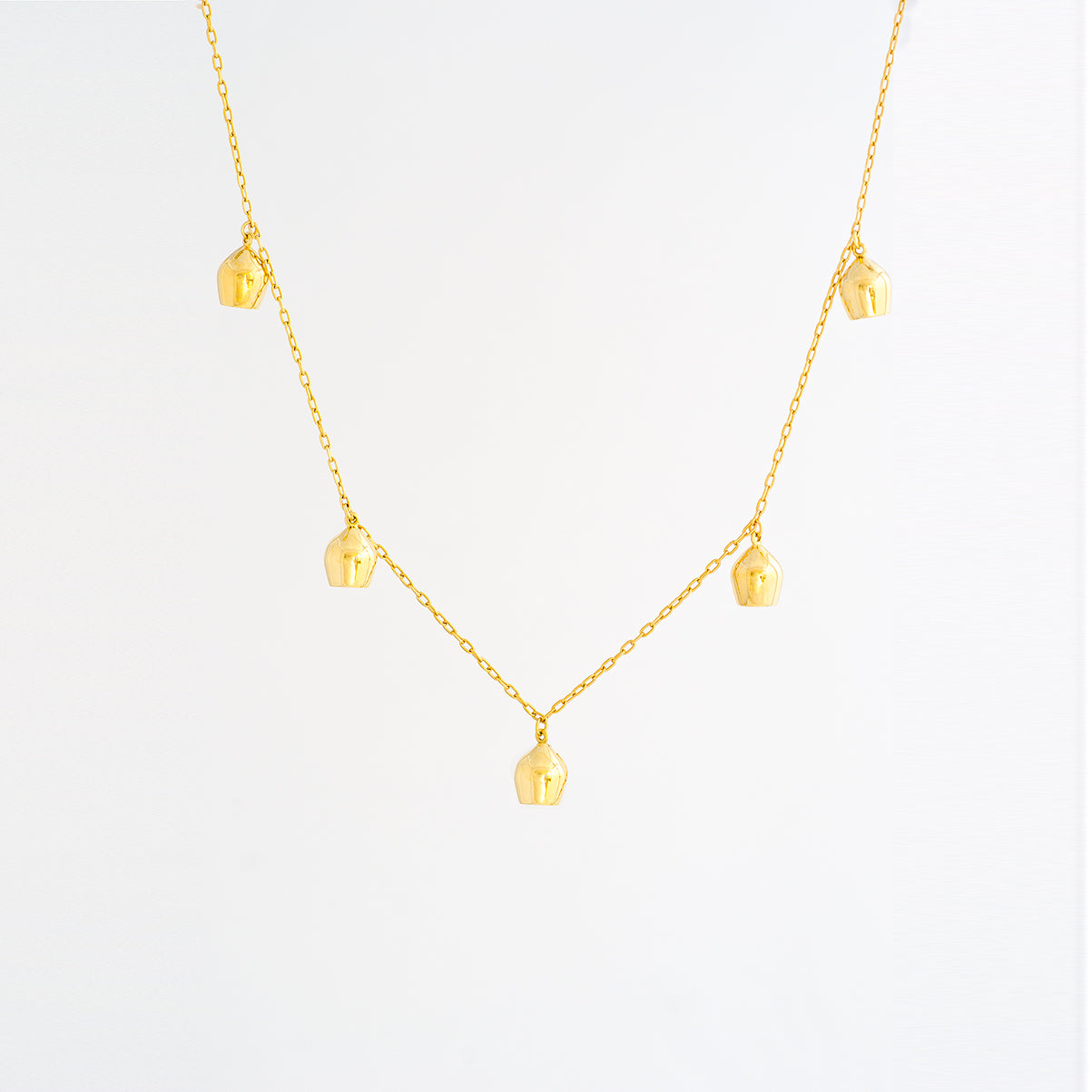 Gold Necklace with Five Lune Charms