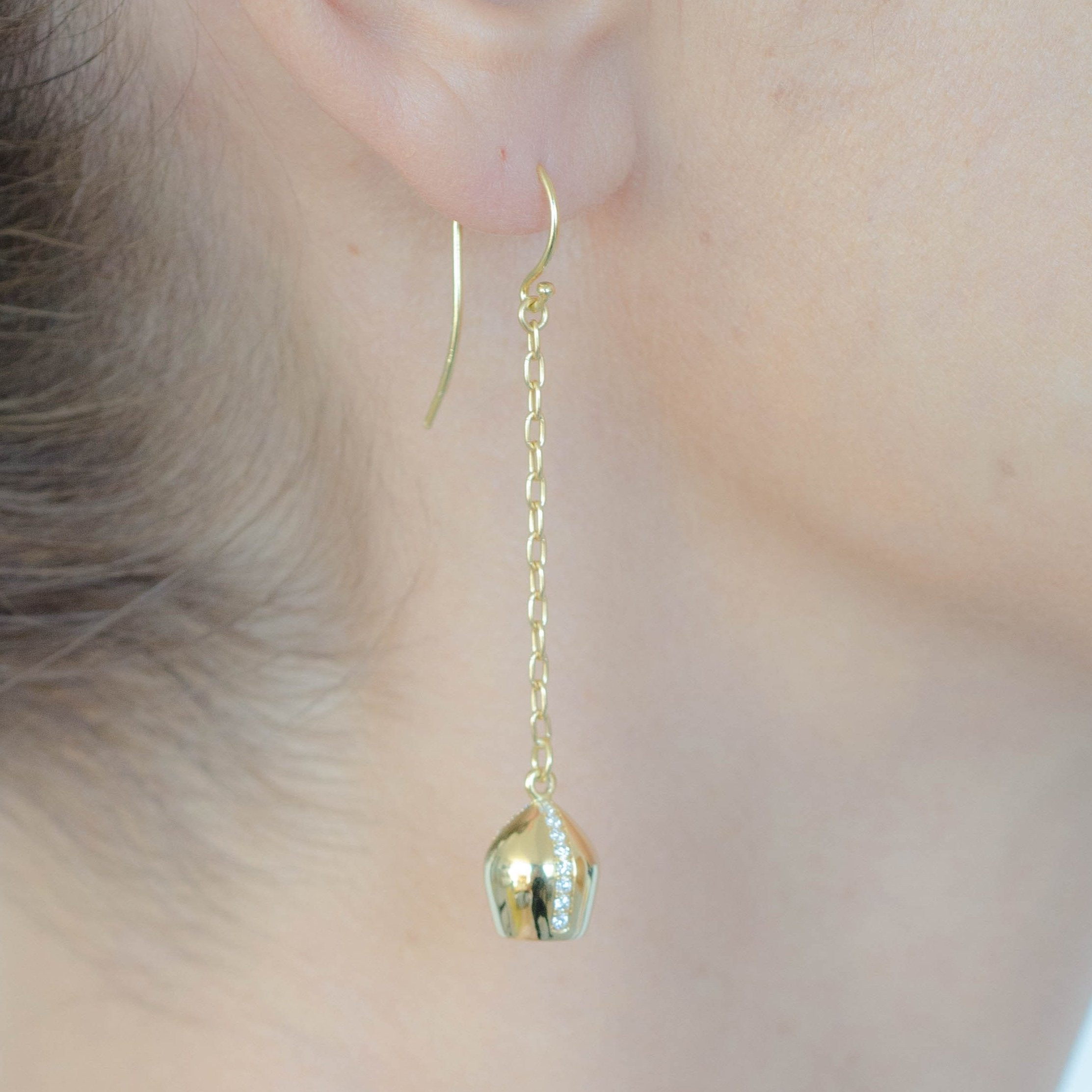 Gold Dangle Earrings & Diamond Sided Lune Charms