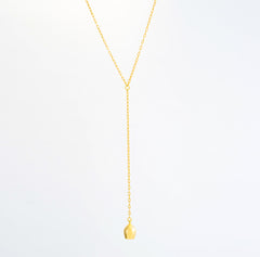 Plain Lune Charm Lariat Gold Necklace