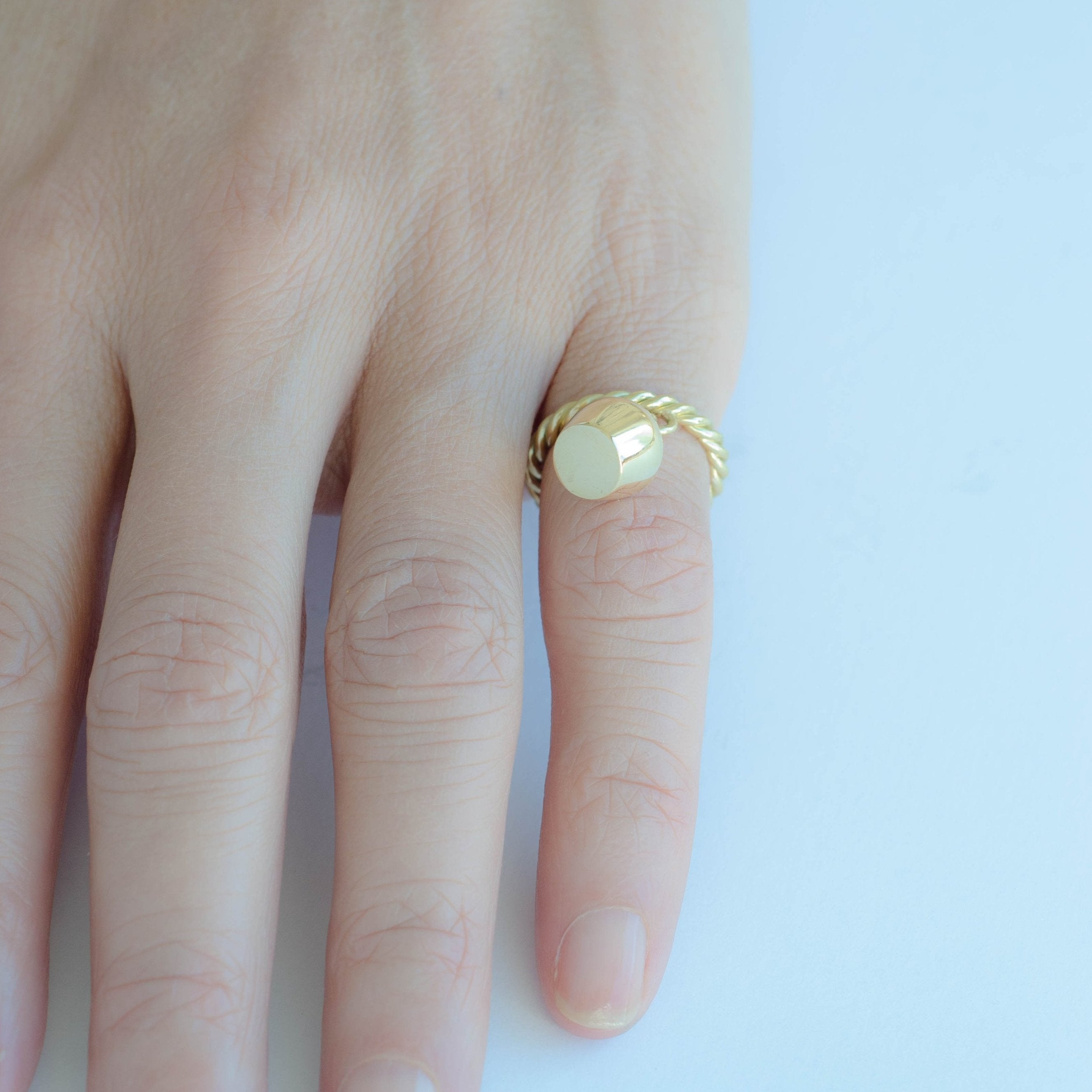 Gold Ring & Diamond Sided Pavé Lune Charm