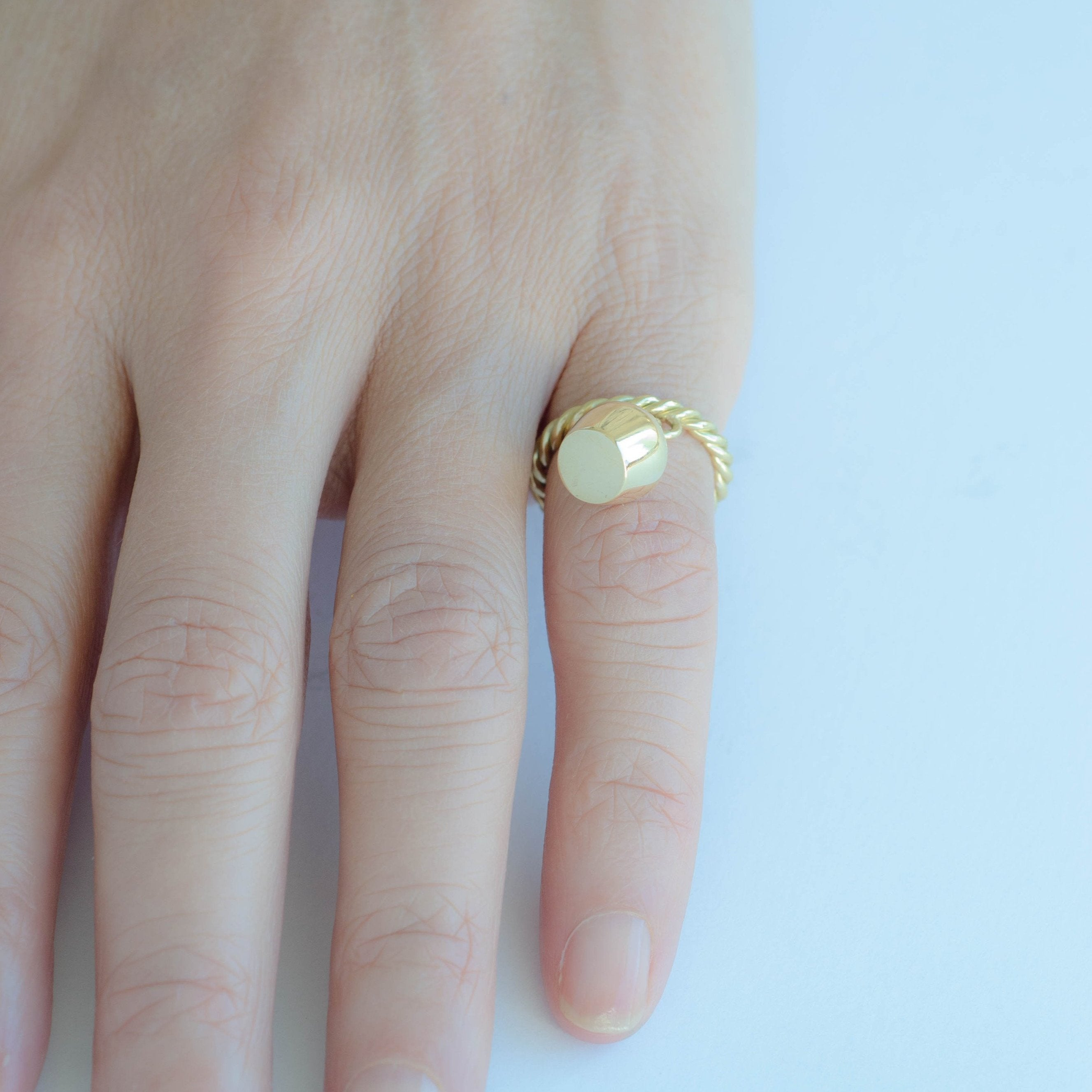 Gold Ring & Plain Lune Charm