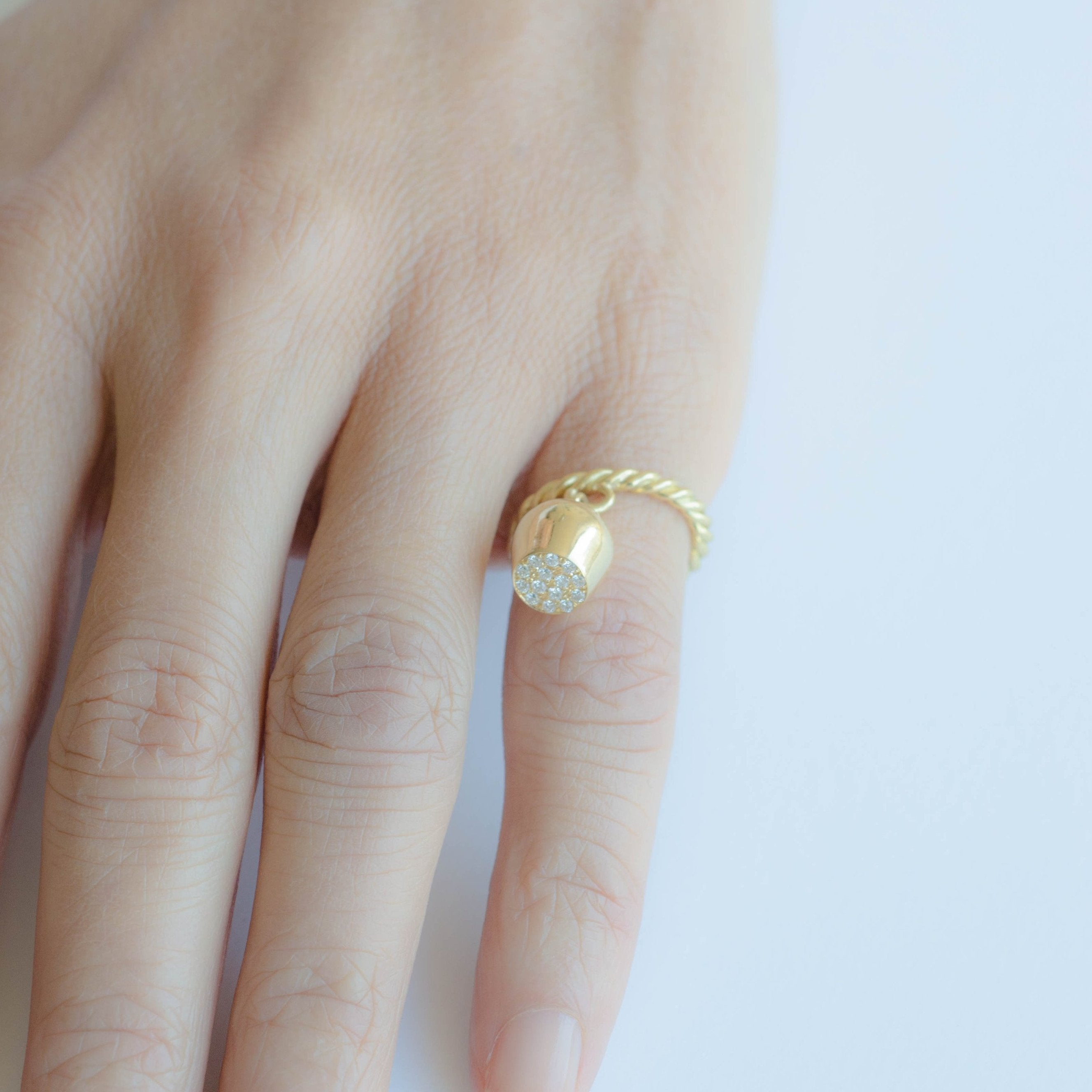 Gold Ring & Diamond Topped Pavé Lune Charm