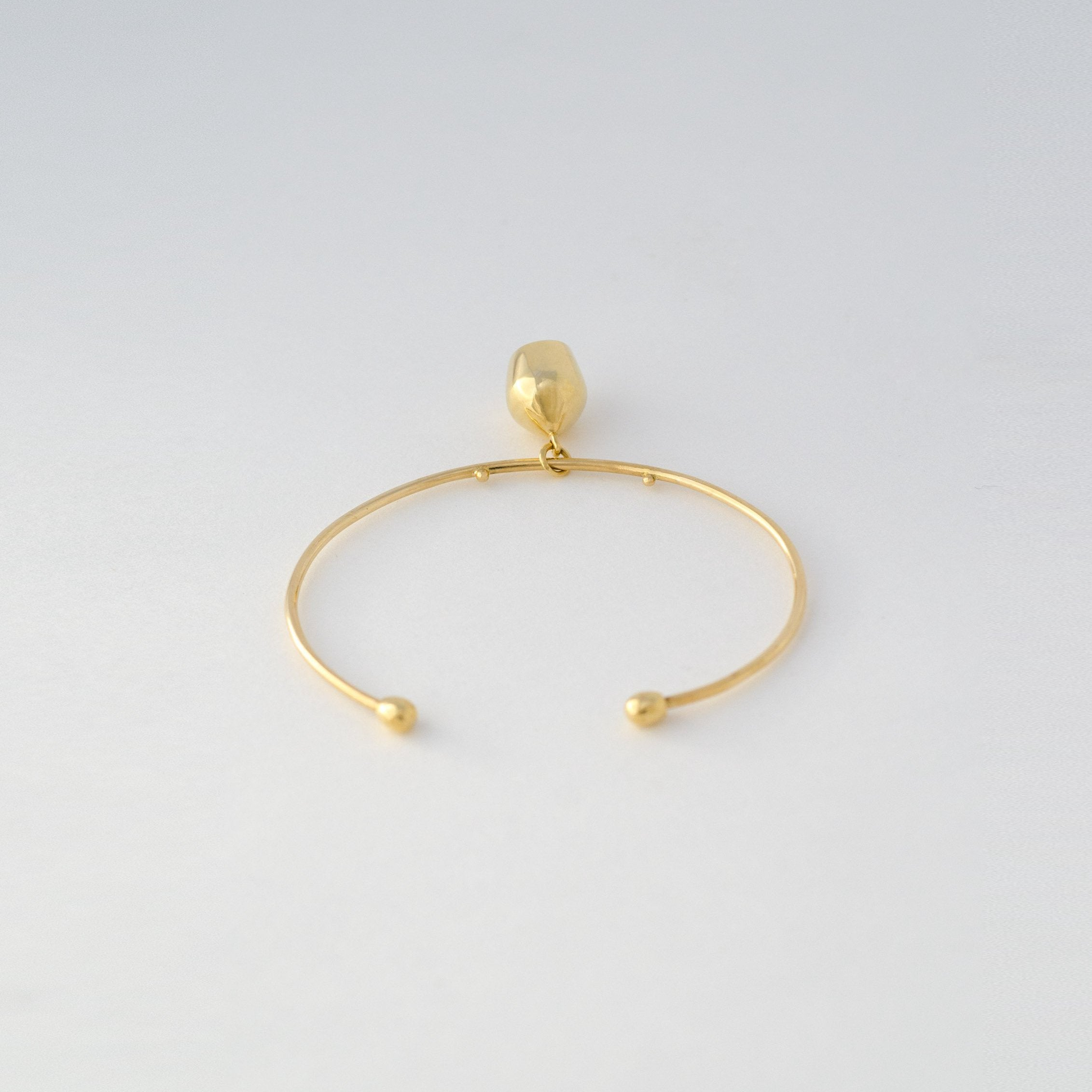 Gold Wire Cuff & Plain Charm
