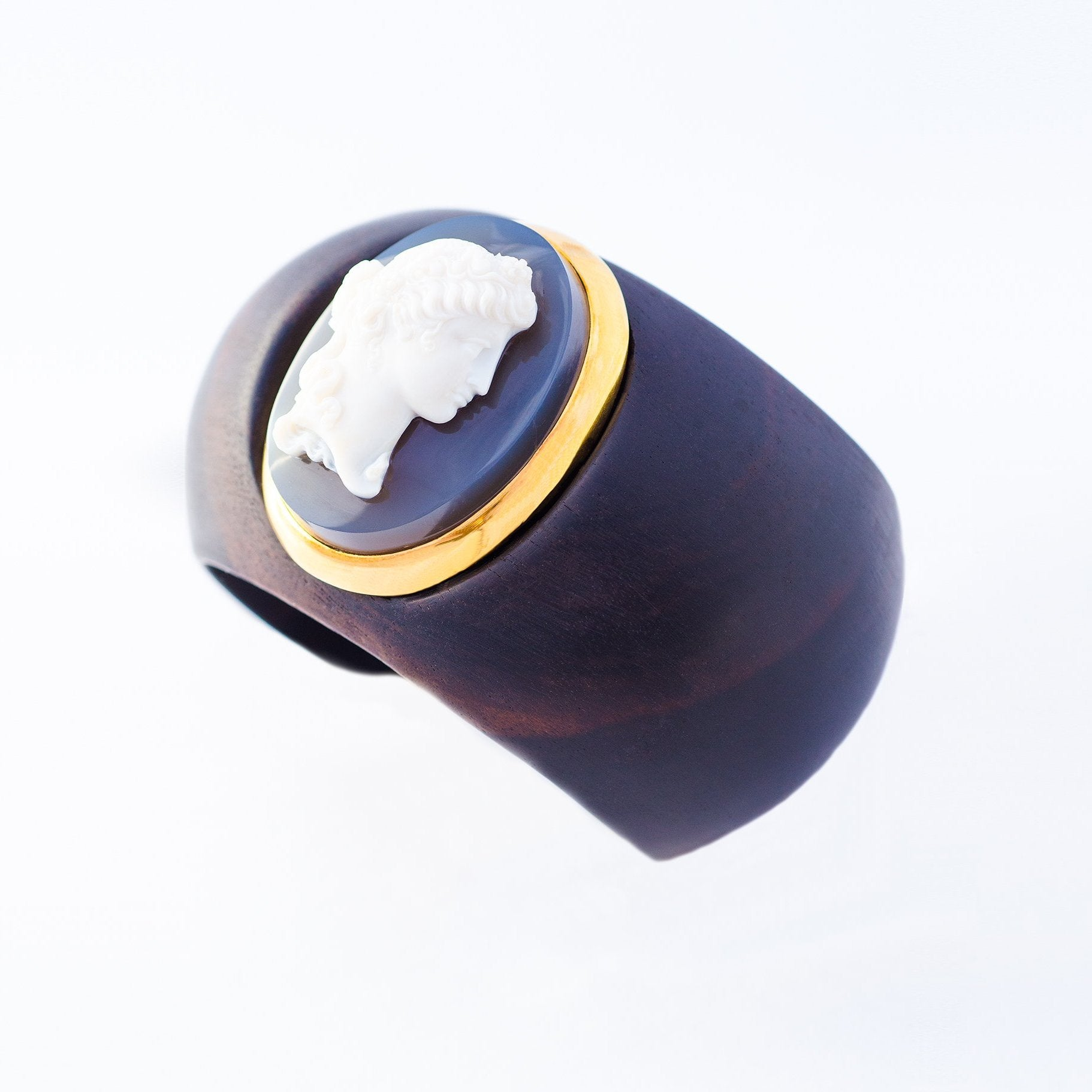 Antique Gold & Agate Cameo on Ebony Cuff