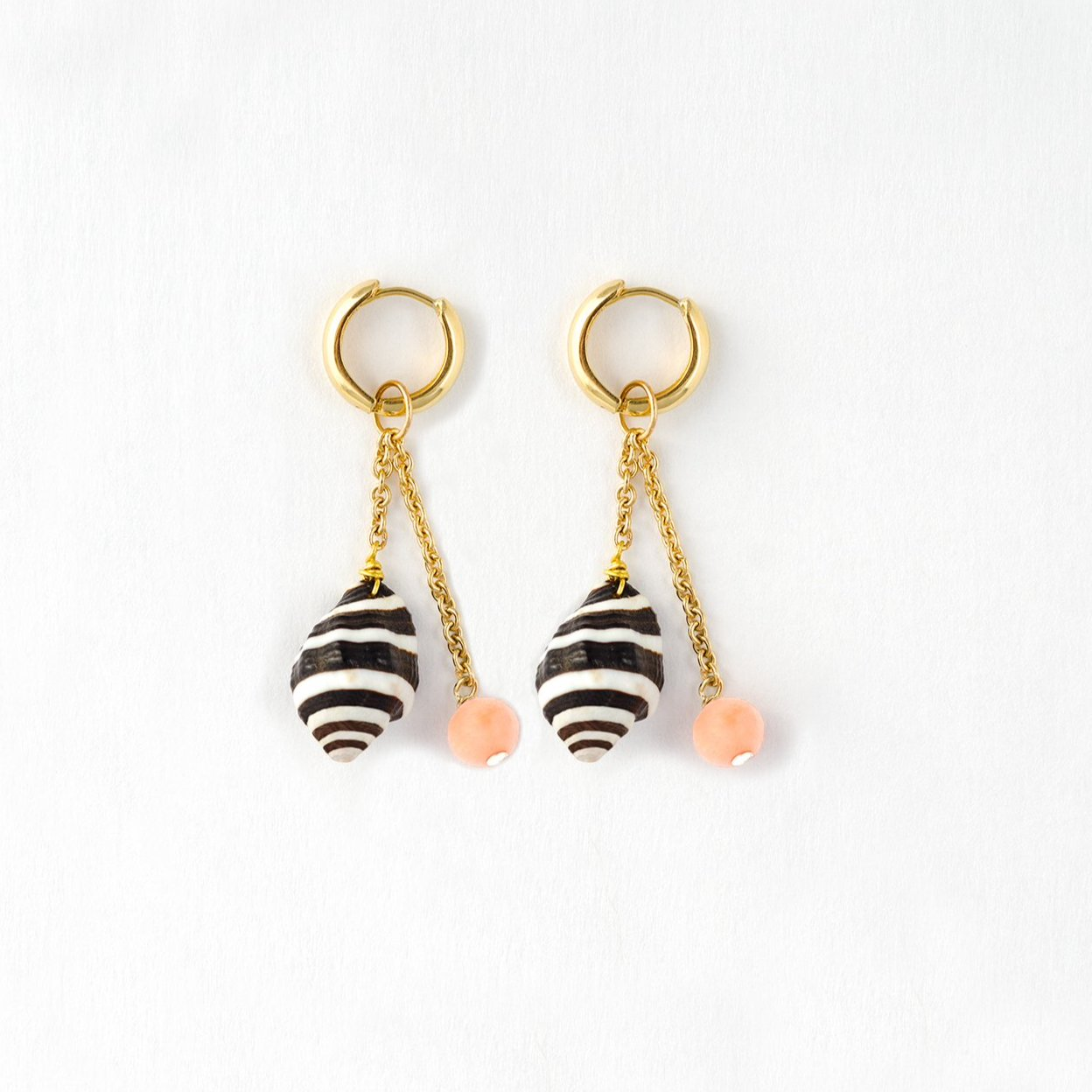 Les Charmantes Coral & Shell Charm Gold Earrings