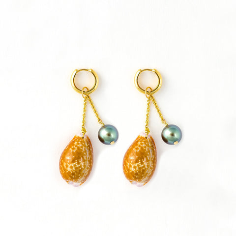 Les Charmantes Tahitian Pearl & Shell Charm Gold Earrings