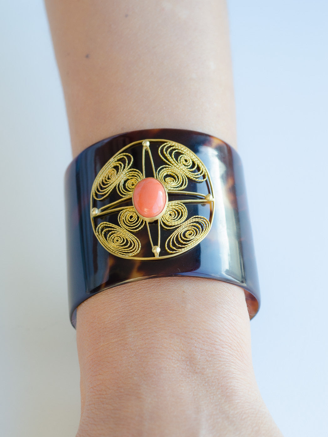 Vintage Cuff & Gold filigree with Coral Cabochon