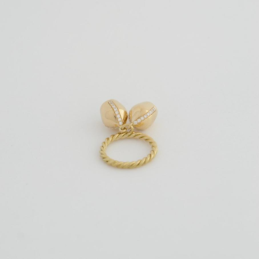 Gold Ring & Diamond Sided Pavé Charms