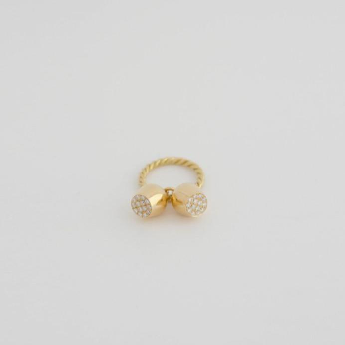 Gold Ring & Diamond Topped Pavé Lune Charms