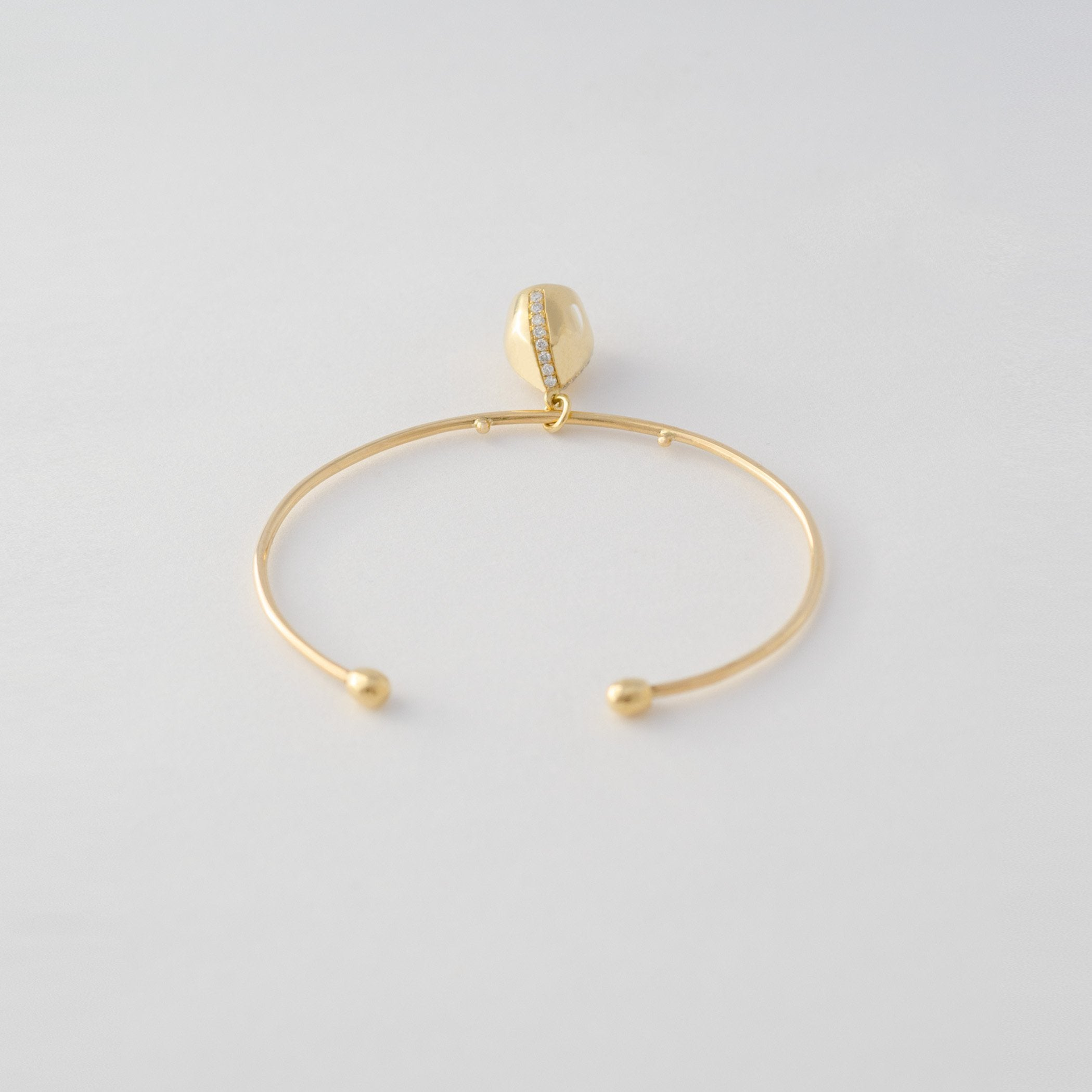 Gold Wire Cuff & Diamond Sided Charm