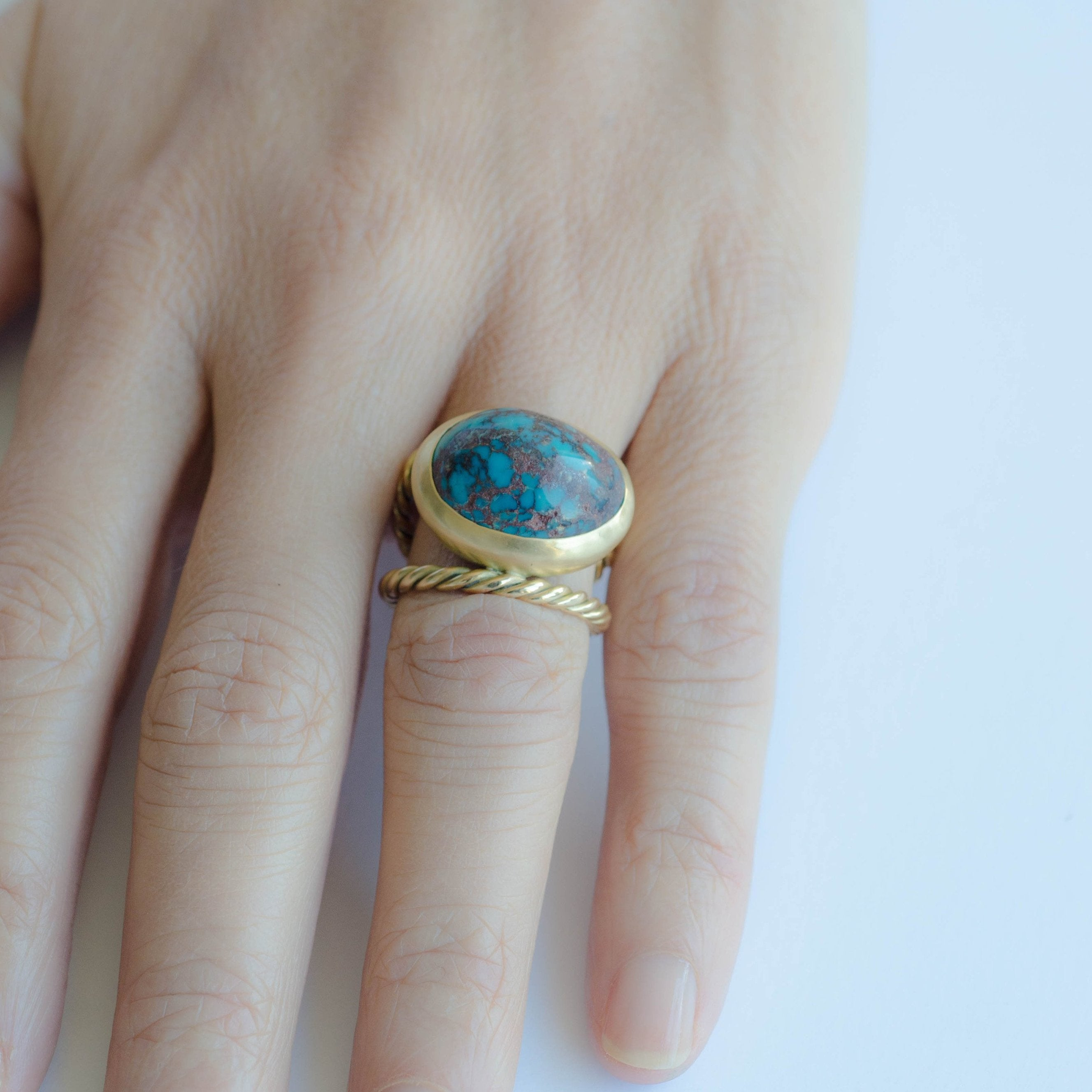 Large Turquoise & Hand-Twisted Double Gold Ring