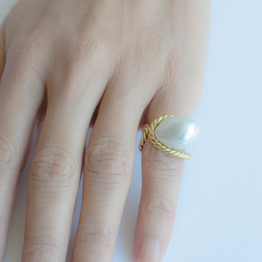 South Sea Baroque Pearl Gold Ring