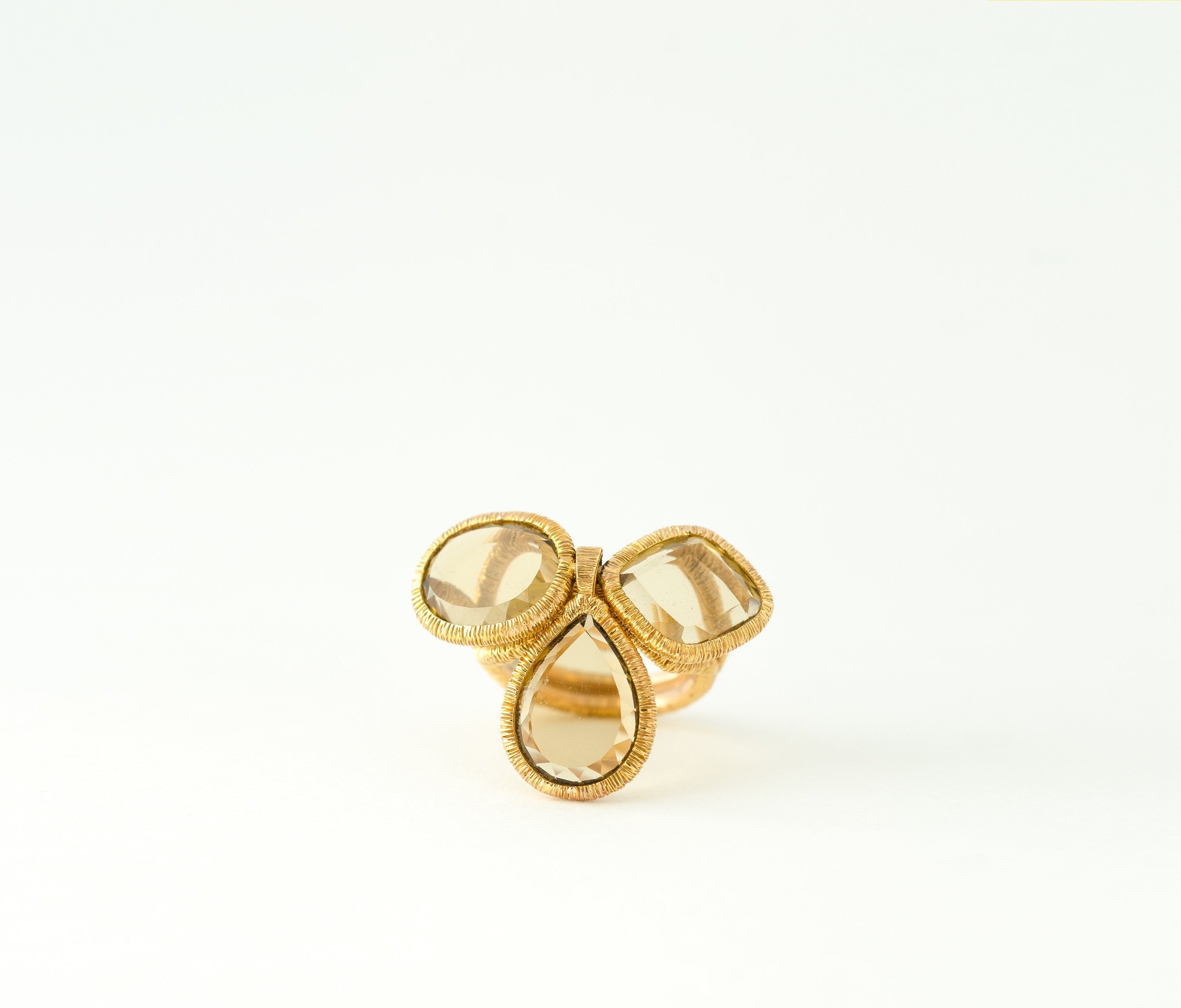 Vintage Smoky Quartz Flip Gold Ring