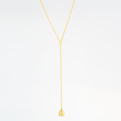 Diamond Sided Pavé Lune Charm Lariat Necklace