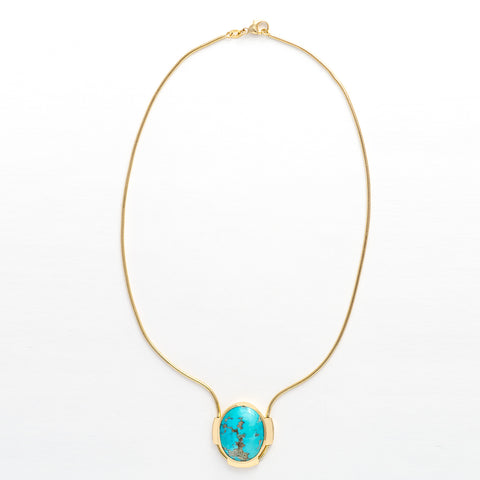 Turquoise Gold Snake Necklace
