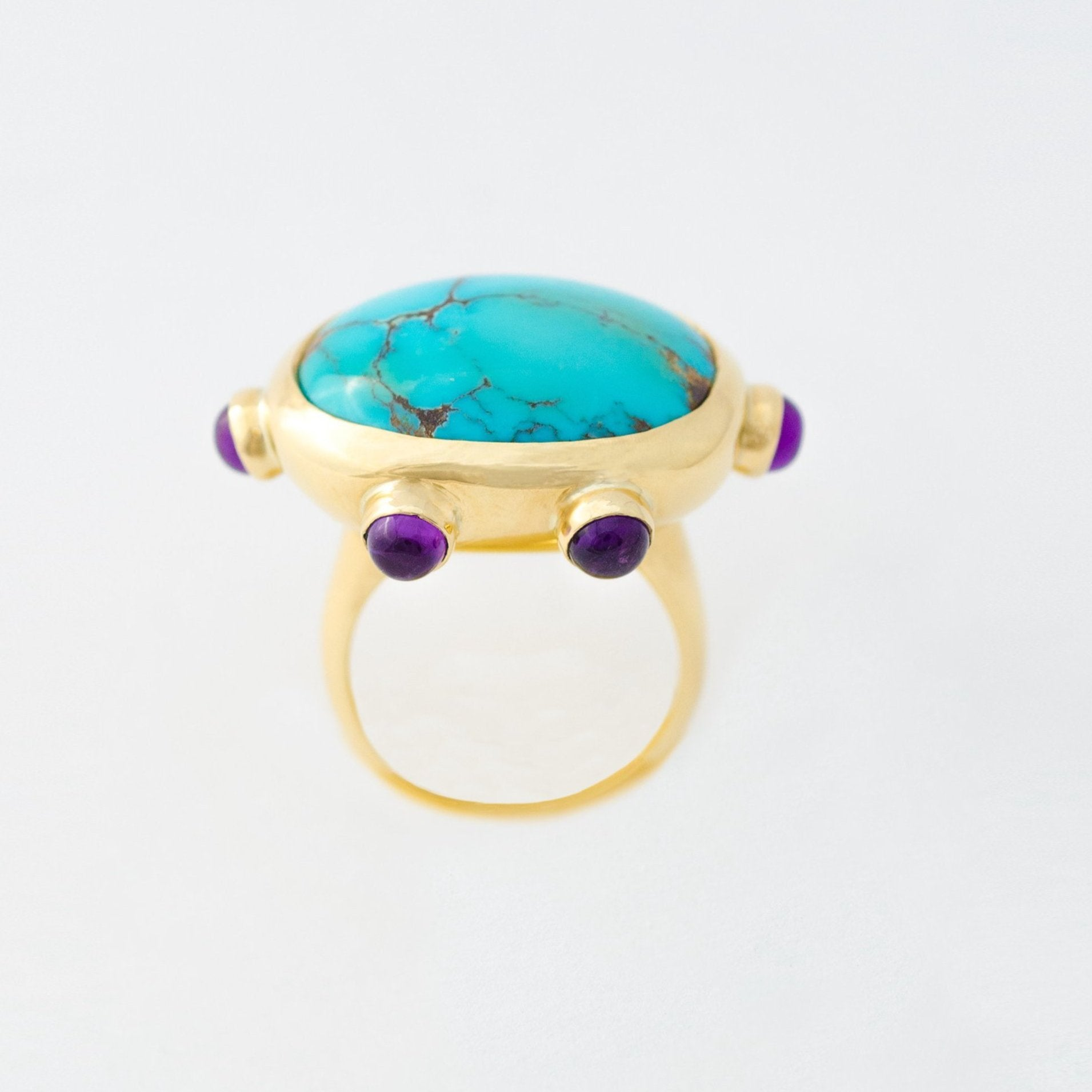 Turquoise & Amethyst One-of-a-kind Gold Ring