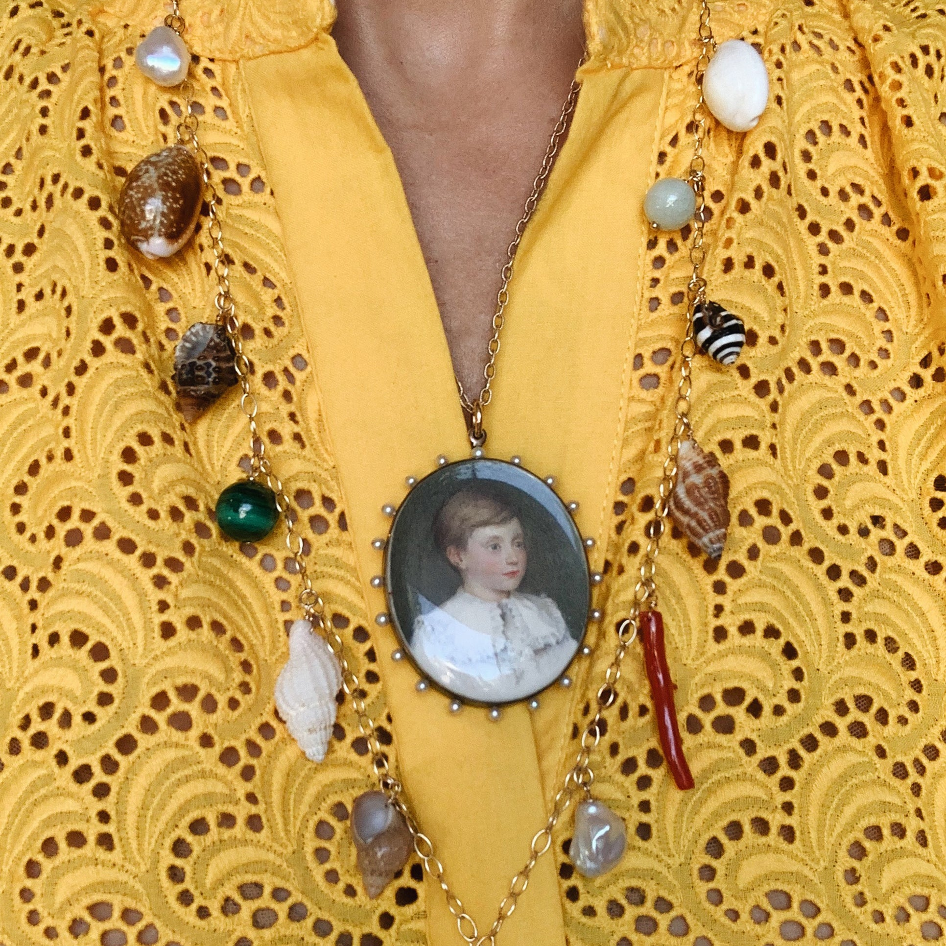 Antique Miniature Portrait Pendant & Gold Chain