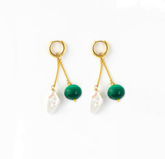 Les Charmantes Baroque Pearl & Malachite Charm Gold Earrings