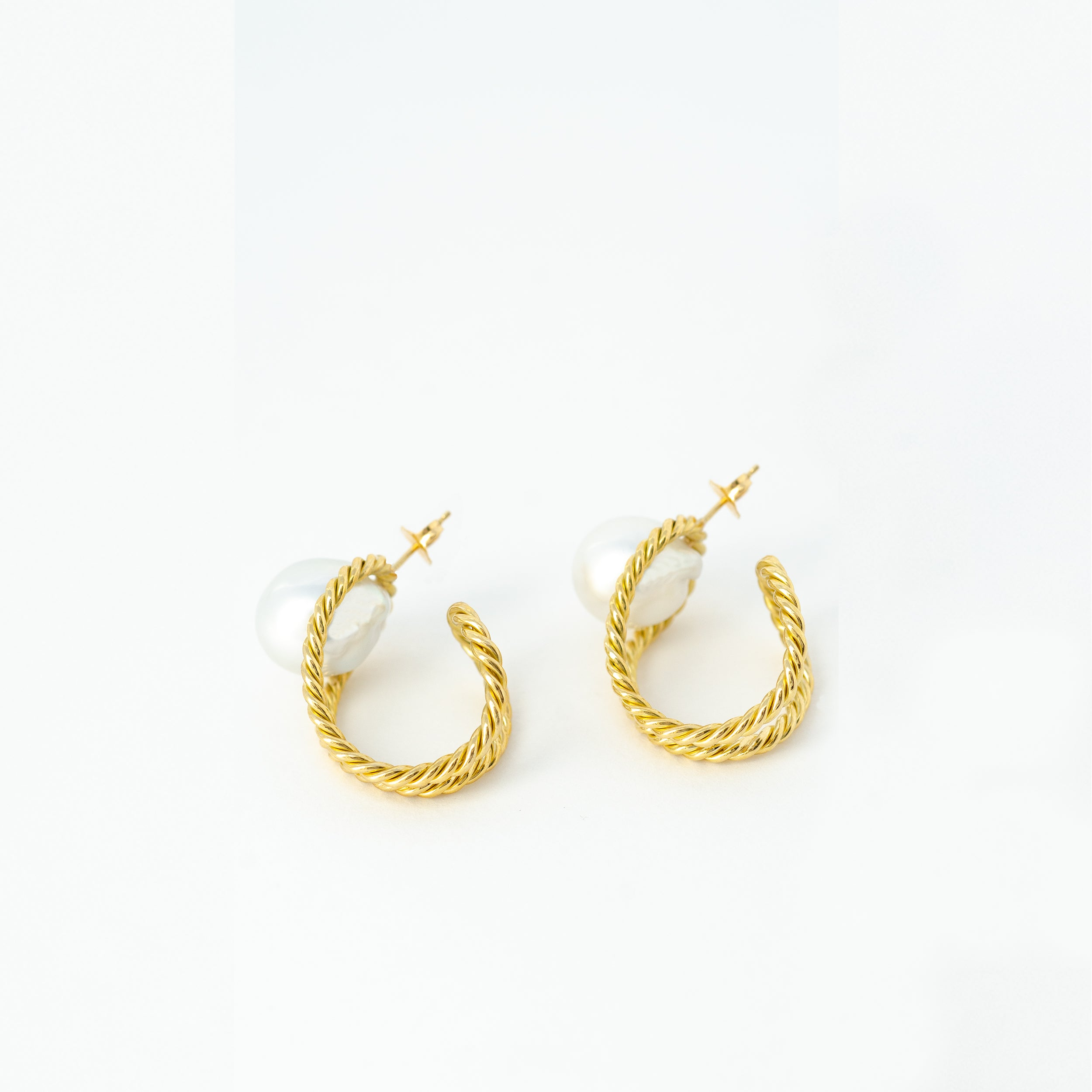 South Sea Baroque Pearl Twisted Gold Earrings