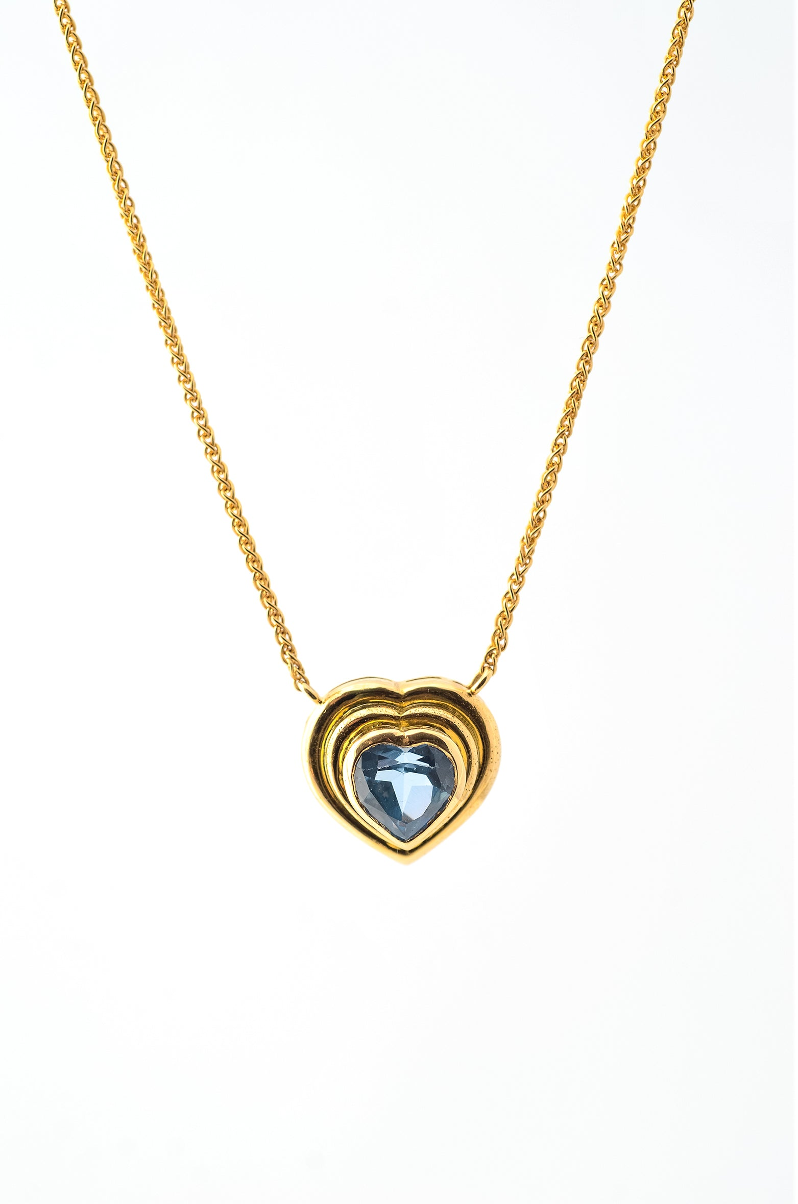 Vintage Blue Topaz Heart Pendant on Gold Chain