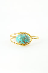 Twisted Gold Cuff & Dome Turquoise